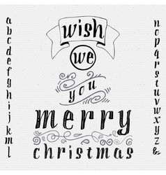 Wish we you merry christmas insignia and labels vector