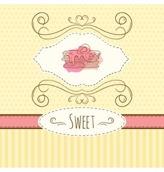 Pancake  hand drawn card with vector image