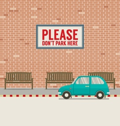 Car Parked Beside Pedestrian vector image
