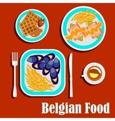 Delicious lunch of belgian cuisine vector