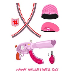 Weapons cupid set military love accessories vector