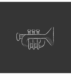 Trumpet drawn in chalk icon vector