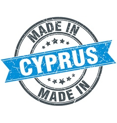 Made in cyprus blue round vintage stamp vector