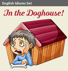 A boy in the doghouse vector