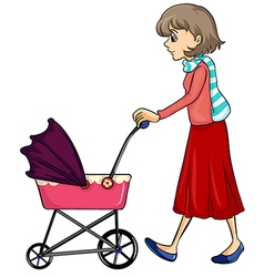 A woman and baby pram vector image
