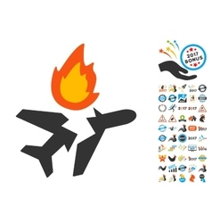 Airplane crash icon with 2017 year bonus symbols vector