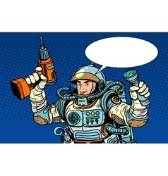 Astronaut with a drill and flashlight vector
