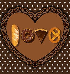 Bake goods in word of love shape vector
