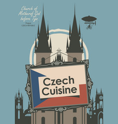 Banner for a restaurant czech cuisine with flag vector