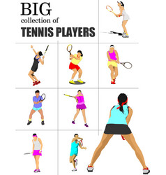 Big collection of tennis players colored for vector