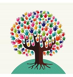 Colorful solidarity hands tree vector
