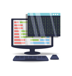 computer with programmig coding on screen vector image
