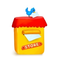 Cute little store yellow post box in cartoon style vector