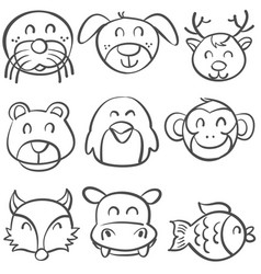 doodle of animal head style hand draw vector image vector image