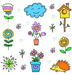 Doodle of spring flower item set vector