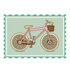 Frame with silhouette of bicycle with background vector