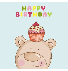 Happy Birthday Card - Baby Bear with Cupcake vector image vector image