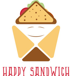 Happy sandwich box abstract design template vector