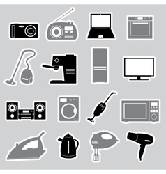 Home electrical appliances stickers set eps10 vector