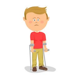 Little boy standing with crutches vector