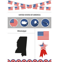 Map of mississippi set of flat design icons vector