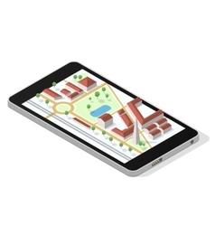 Map on smartphone screen vector image