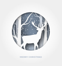 Merry christmas 3d abstract paper cut vector