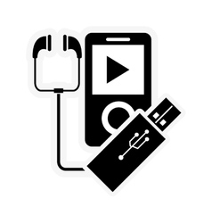Mp3 player and usb drive icon vector