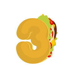 number 3 tacos mexican fast food font three taco vector image