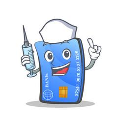 Nurse credit card character cartoon vector