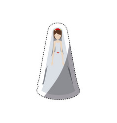 people woman with wedding dress icon vector image