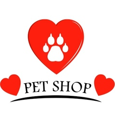 Pet shop icon with hearts vector