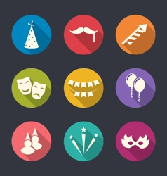 Set flat icons of party objects with long shadows vector image vector image