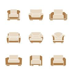 Set of stylish armchairs vector image