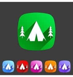 Tourist camp tent icon flat web sign symbol logo vector