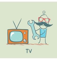 TV repair man vector image vector image