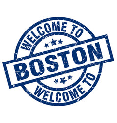 Welcome to boston blue stamp vector