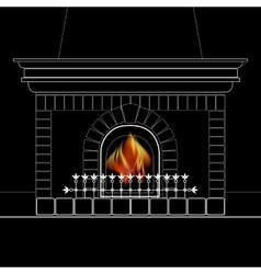 White outline of the fireplace and flame isolated vector