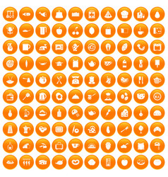 100 cooking icons set orange vector