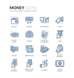 Line money icons vector