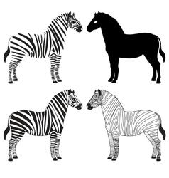 Zebra silhouettes set vector