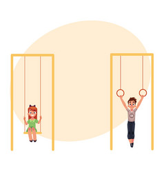 Kids at playground hanging on gymnastic rings vector