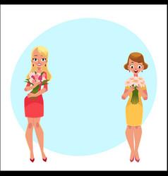Two beautiful blond women girls standing holding vector