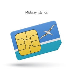 Midway islands mobile phone sim card with flag vector