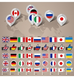 G8 flags with map big set vector
