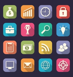 Set flat icons of business office and marketing vector image
