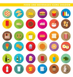 Food and beverages icons shadow vector