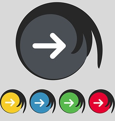 Arrow right next icon sign symbol on five colored vector