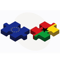 European union and guyana flags in puzzle isolated vector