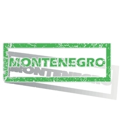 Green outlined montenegro stamp vector